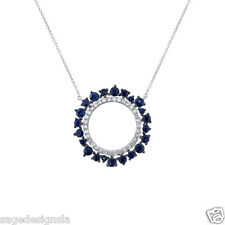 0.94CT 14K White Gold Round Blue Sapphire and Diamond Circle O Pendant Necklace