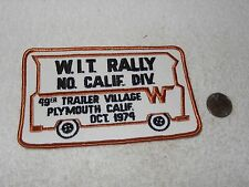 Vintage California W.I.T. Patch Winnebago 1974 49er Trailer Village Plymouth CA