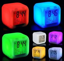 Desk gadget Digital Alarm Thermometer Night Glowing Cube 7 Colors Clock LCD LED