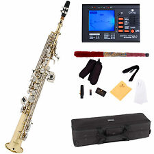Mendini Straight Bb Soprano Saxophone Sax ~Gold Body Nickel Keys +Tuner ~MSS-LN