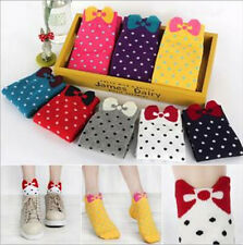 New Fashion Women's Girls Korean Cute Bowknot Candy Color Cozy Dot Short Socks