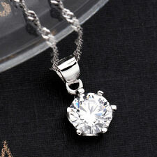 925 Sterling Silver Chic Crystal Chain Necklace Silver Pendant Women Girl Gift