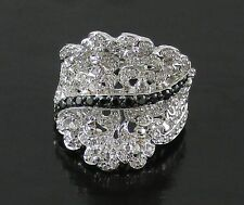 Victoria Wieck .95ct Absolute Overlay Lacy Concave Sterling Silver Ring - Size 6