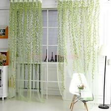 1M*2M Willow Twig Pattern Room Voile Window Sheer Drapes Curtain Panel Green