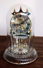 "DANBURY CLOCK COMPANY GERMANY GOLD GLASS DOME PENDULUM MANTLE SHELF CLOCK 10"" H"