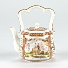 "European Antique Style Burgundy Porcelain Teapot British Settlers Mark 6"" 15cm"