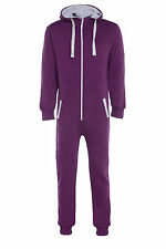 Unisex Adult Plain Onesie Hooded Zip Up Mens Womens Onesie Jumpsuit Playsuit
