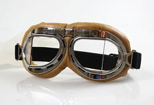 Aviator Pilot Cruiser Motorcycle&Bicycle Scooter ATV Goggles Eyewear Clear Lens