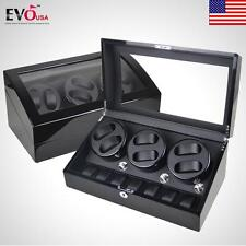 Luxury Black Automatic 3 Motor Watch Winder Display Box 6+7 Leather Storage