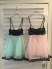 �� VTG LOT 2 OLGA Babydoll Nightgown Burlesque Full Sweep Chiffon Peignoir ��