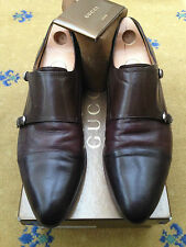 Gucci Mens Shoes 3 Tone Brown Leather Loafers UK 9.5 US 10.5 EU 43.5 Monk Buckle