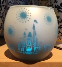 Disney Parks Castle Silhouette Candle Holder with Frosted Glass & Metallic Blue