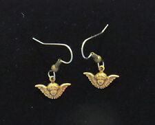 Angel Head with Wings Earrings Tiny Antiqued Brass Vintage Inspired Cherub Cupid
