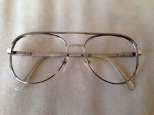 VINTAGE AMERICAN OPTICAL SILVER AVIATOR SUNGLASSES FRAMES MADE IN USA 56-18-145