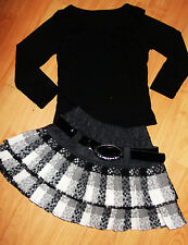 GIRLS BLACK TOP & GREY WHITE TARTAN PLEATED FLARED RUFFLE PARTY SKIRT age 8-9