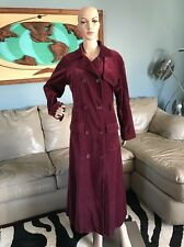 Spiegel Red Maroon Wine Color Velvet Long Trench Coat Woman's L / 10 100% Cotton