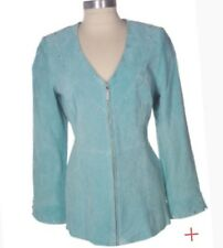 NEW Nolan Miller V-neck Fully Lined Suede Jacket w/ Rhinestones S Aqua R$94.5+sp