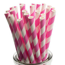 Pink Striped Paper Straws x 25 Retro Drinking Cocktail Party Barbecue