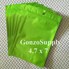 75PC Solid Metallic Green 4.7x7 Ziplock Mylar Bags-Sealabe Food Storage Products