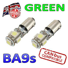2 X BA9S GREEN LED BULBS 5 SMD 233 T4W SIDE LIGHT PLATE INTERIOR BRIGHT