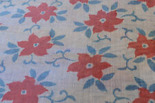 Japanese Yukata Blue Silk With Red and Blue Flowers 1011
