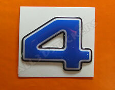 Pegatina Numero 4 3D Color Azul Tamaño 25mm