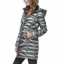 NWT Women's  Gray ANDREW MARC Packable Lightweight down JACKET Hood Size X-Large