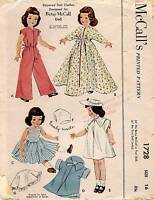 1950's McCall's Zippered Doll Clothes for Betsy McCall Doll Pattern 1728 Size 16
