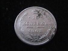 MDS RUSSLAND 15 KOPEKEN 1908 СПБ ВС, SILBER