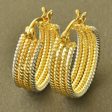 Attractive 9K Yellow/White Gold Filled Womens Hoop Earrings,Z5258