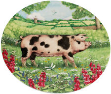 Royal Doulton Pigs in Bloom Plate Foxglove by Debbie Cook