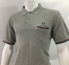 Fred Perry Large 42 polo shirt grey oxford mens casuals vintage red black