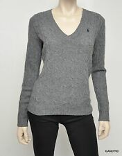 Nwt RALPH LAUREN Sport Cable Merino Wool Sweater V-Neck Pony Pullover Top Gray S