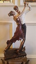 ART DECO BRONZE PINK DRESS LADY MAN DANCER ELEGANT FIGURINE STATUE VINTAGE 48CM
