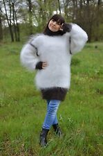 Hand knitted Sweater Turtleneck Jumper longhair goat down Mohair Unisex Size- M