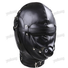 Quality Soft PU Leather Full Blindfold Mask Hood & Mouth Ball Gag Bondage Fetish