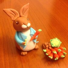 Handmade edible Peter Rabbit styler figure and box of veg cake topper