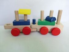 Melissa & Doug Wood Toy Extra Trains with Wooden Stacking Blocks Red Wheels
