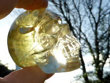 TIBETAN REAL YELLOW QUARTZ CITRINE CRYSTAL RAINBOW SKULL NATURAL UNHEATED 178 gm