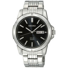 New Seiko SNE093 Men's Solar Black Dial Stainless Steel Silver Watch