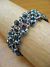 Chan Luu Bracelet Triple Wrap Black Crystals and Silver w Leather Accent NEW
