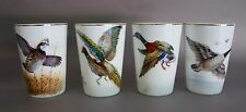 Four (4) Lily China Handpainted Water Fowl Bird Tumblers by H Hattori
