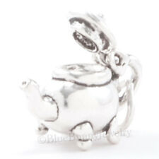 3D FOOTED TEA POT Teapot Charm Pendant Solid 925 STERLING SILVER Lid Opens