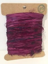 Burgundy Indian Sari Silk Ribbon Card 5 Metre Length