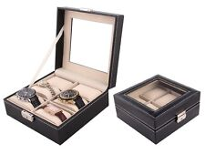 6 Watch Leather Box Glass Top Display Lockable Jewelry Storage Case Organizer
