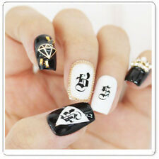 Black Ancient Capital Letter Roman Writing Water Transfer Nail Art Sticker Decal