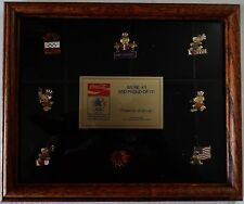 1984 Los Angeles Olympics Coca Cola COKE 8-pin set in wood frame