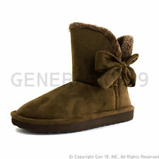 Womens Flat Ribbon Winter Fur Ankle Faux Suede Boots Mini (Adults 6 7 8 9 10 11)
