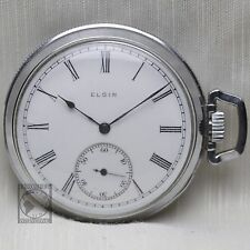 1914 ELGIN 15 Jewel Mechanical Pocket Watch Sidewinder Roman Numerals 12s USA