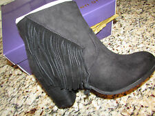 NEW MADDEN GIRL DESCENT BLACK ANKLE BOOTES BOOTS WOMENS 8.5 W/ FRINGE FREE SHIP